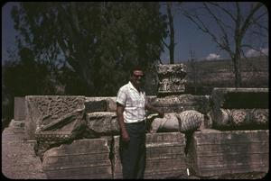 Primary view of object titled 'Capernaum, detail of ruins, and Alex (guide)'.