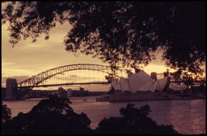 Primary view of object titled 'Sunset - Sydney Bridge/Opera House'.