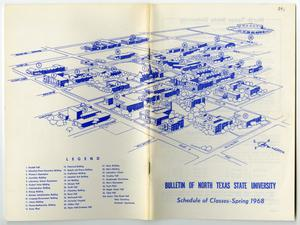 Primary view of object titled '[Bulletin of N.T.S. U.: Schedule of Classes-Spring 1968, Campus Map]'.