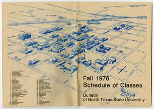Primary view of object titled '[Bulletin of N.T.S.U.: Fall 1976, Schedule of Classes, Campus Map]'.