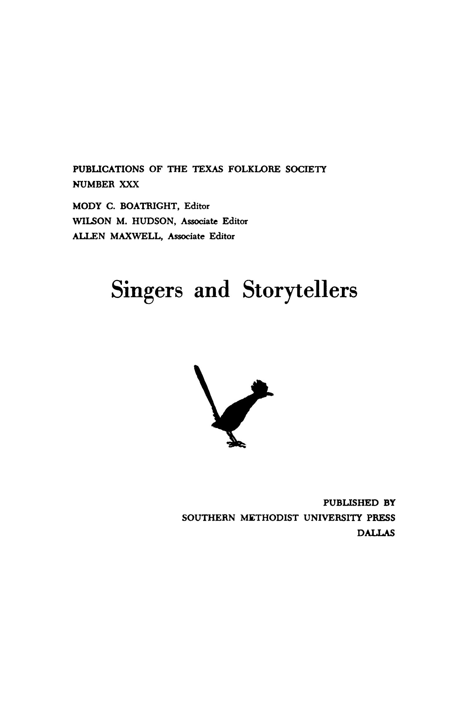 Singers and Storytellers                                                                                                      I