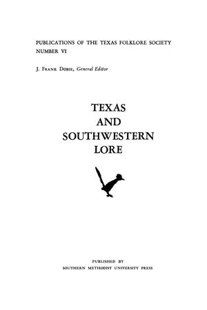 Primary view of object titled 'Texas and Southwestern Lore'.