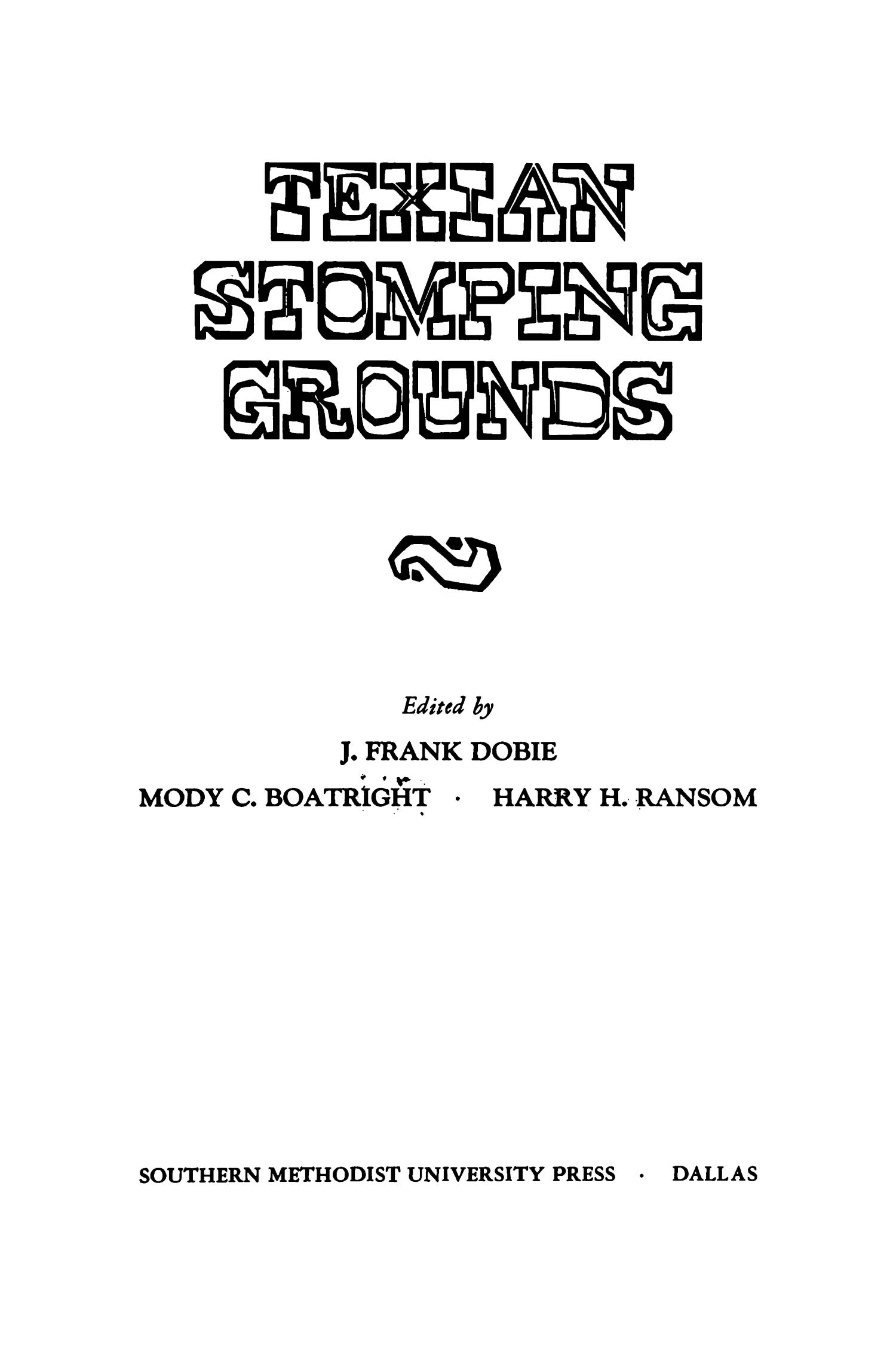 Texian Stomping Grounds                                                                                                      Title Page