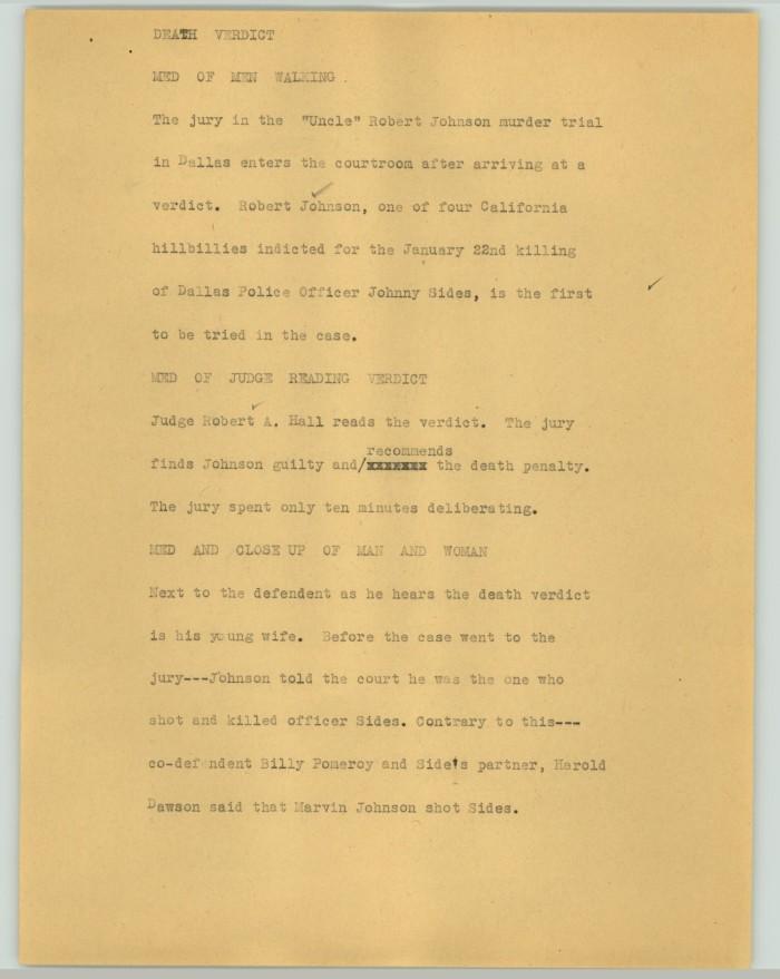 News Script: Death verdict] - The Portal to Texas History