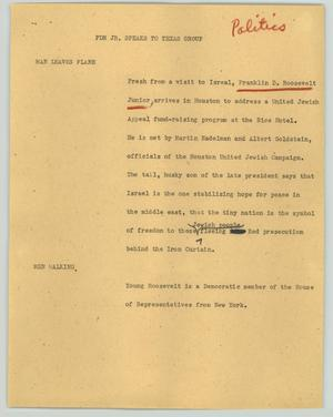 Primary view of object titled '[News Script: FDR Jr. speaks to Texas group]'.