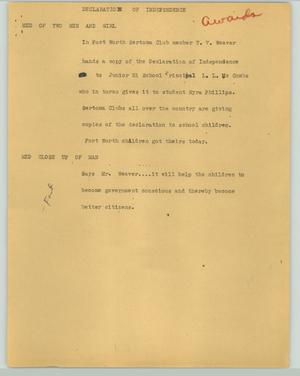 Primary view of object titled '[News Script: Declaration of Independence]'.