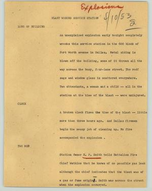 Primary view of object titled '[News Script: Blast wrecks service station]'.