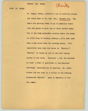 Primary view of object titled '[News Script: Shorty the horse]'.