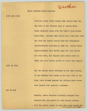 Primary view of object titled '[News Script: Rains relieve water shortage]'.