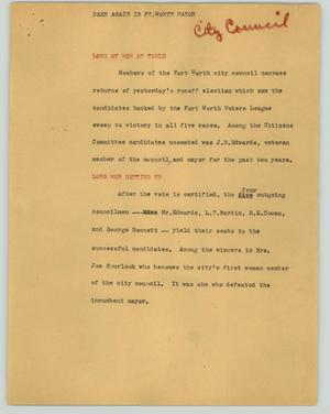 Primary view of object titled '[News Script: Deen again is Ft. Worth mayor]'.