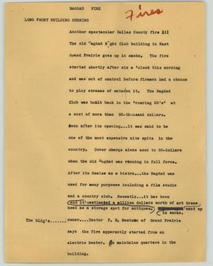 Primary view of object titled '[News Script: Bagdad Fire]'.