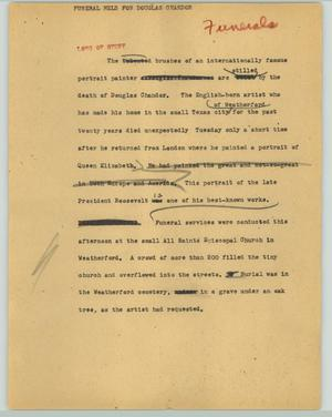 Primary view of object titled '[News Script: Funeral held for Douglas Chandor]'.