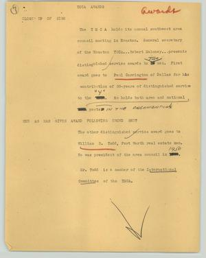 Primary view of object titled '[News Script: YMCA awards]'.