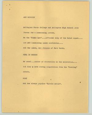 Primary view of object titled '[News Script: ASC reunion]'.
