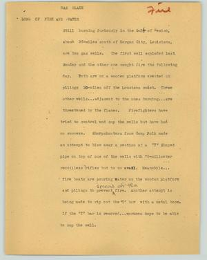 Primary view of object titled '[News Script: Gas blaze]'.