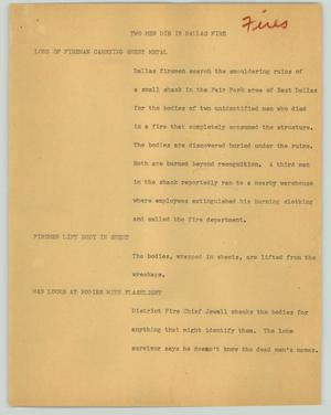 Primary view of object titled '[News Script: Two men die in Dallas fire]'.