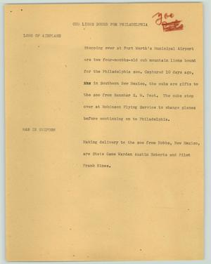 Primary view of object titled '[News Script: Cub lions bound for Philadelphia]'.