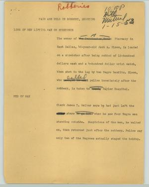 Primary view of object titled '[News Script: Pair are held in robbery, shooting]'.