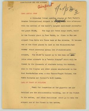 Primary view of object titled '[News Script: Dignitaries see new airport]'.