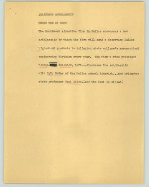 Primary view of object titled '[News Script: Arlington scholarship]'.