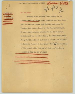 Primary view of object titled '[News Script: Fort Worth man released by Reds]'.