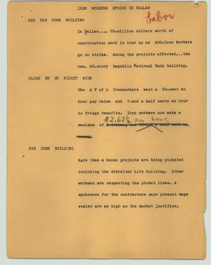 Primary view of object titled '[News Script: Iron workers strike in Dallas]'.