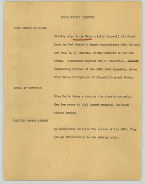 Primary view of object titled '[News Script: Sonja visits Carswell]'.