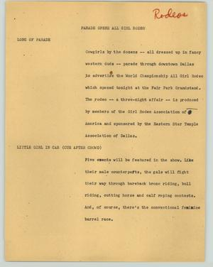 Primary view of object titled '[News Script: Parade opens all girl rodeo]'.