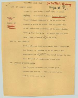 Primary view of object titled '[News Script: Salvation Army head]'.