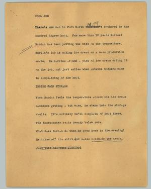 Primary view of object titled '[News Script: Cool job]'.