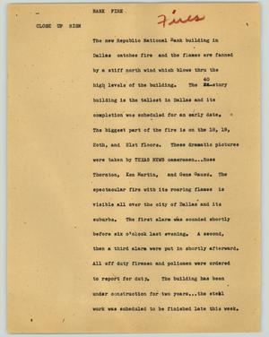 Primary view of object titled '[News Script: Bank Fire]'.