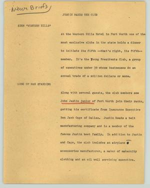 Primary view of object titled '[News Script: Justin makes the club]'.