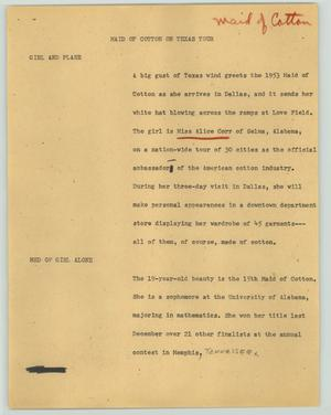 Primary view of object titled '[News Script: Maid of cotton on Texas tour]'.