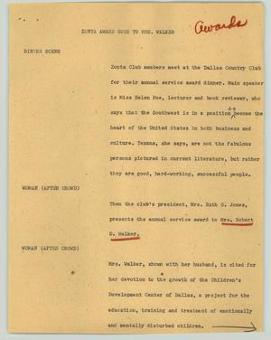 Primary view of object titled '[News Script: Zonta award goes to Mrs. Walker]'.