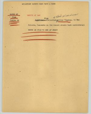 Primary view of object titled '[News Script: Scientist doubts Reds have a bomb]'.