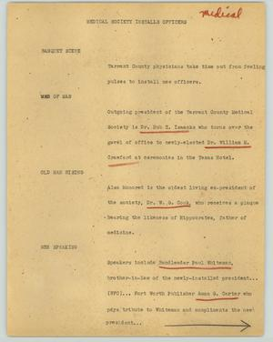Primary view of object titled '[News Script: Medical society installs officers]'.