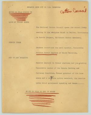 Primary view of object titled '[News Script: Senator sees cut in U.S. spending]'.