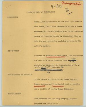 Primary view of object titled '[News Script: Texans on hand at inauguration]'.