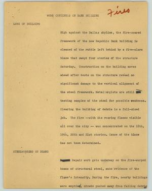 Primary view of object titled '[News Script: Work continues on bank building]'.