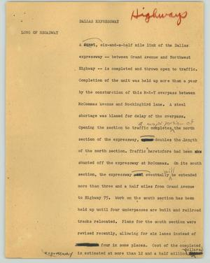 Primary view of object titled '[News Script: Dallas expressway]'.