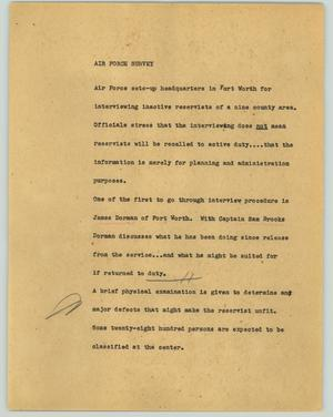 Primary view of object titled '[News Script: Air Force survey]'.