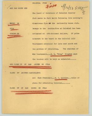 Primary view of object titled '[News Script: Colonial fire]'.
