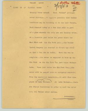 Primary view of object titled '[News Script: Dallas water]'.