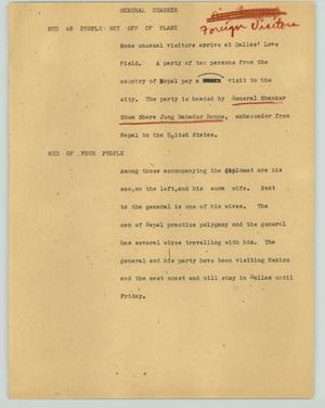Primary view of object titled '[News Script: General Chanker]'.
