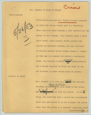 Primary view of object titled '[News Script: Mrs. Doswell is taken to prison]'.