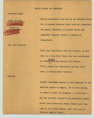 Primary view of object titled '[News Script: Legion leader for amendment]'.