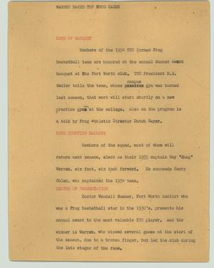 Primary view of object titled '[News Script: Warren named top Frog cager]'.