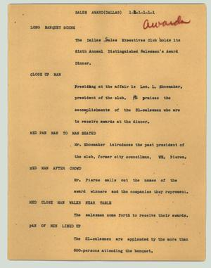 Primary view of object titled '[News Script: Sales award (Dallas)]'.