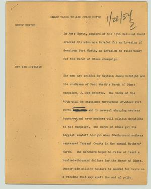 Primary view of object titled '[News Script: Guard tanks to aid polio drive]'.