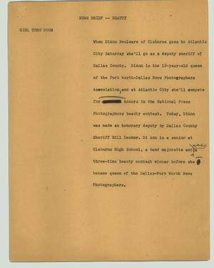 Primary view of object titled '[News Script: News brief - beauty]'.